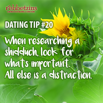 Tip 20: When researching a shidduch, look for what's important. All else is a distraction.